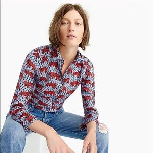 J. Crew Collection Silk Twill Roaming Tiger Blouse